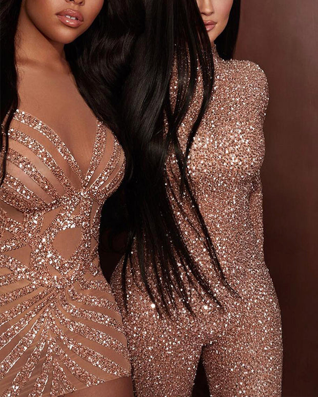 Sexy Sequined Skinny Long-sleeved Jumpsuit