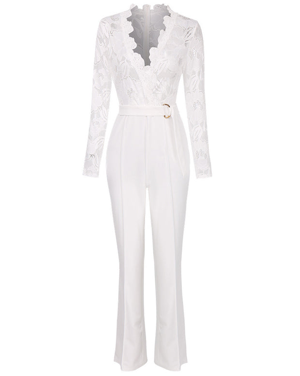 Deep V Lace Long-sleeved Hollow Jumpsuit