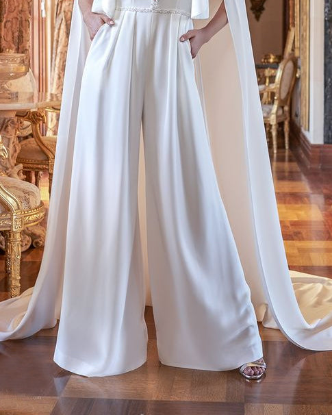 Retro Shawl Solid Color Party Jumpsuit