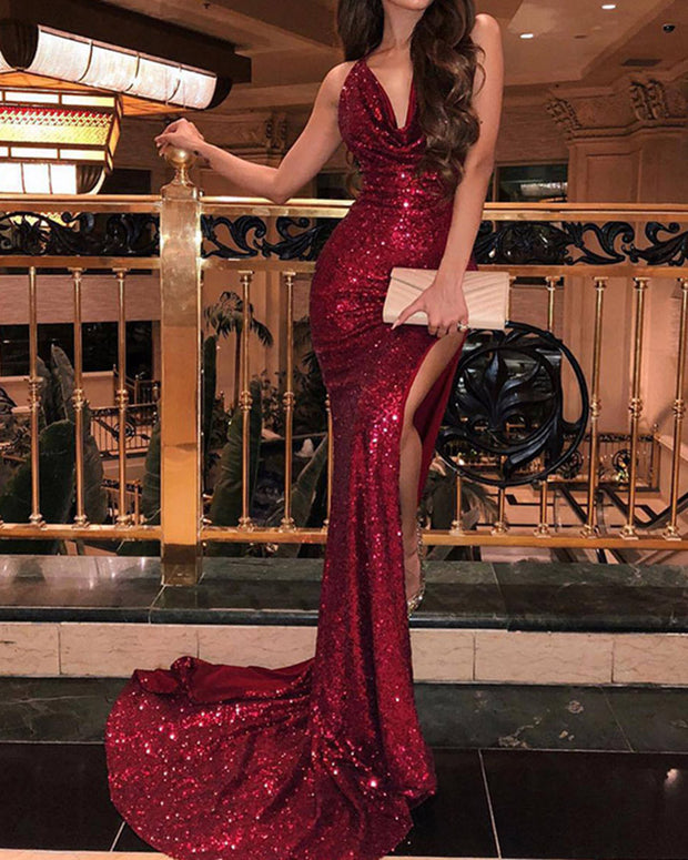 Sexy Deep V Suspenders Sequins Evening Dress