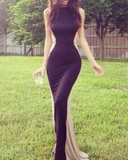 Fashion Slim Color Matching Sexy Evening Dress