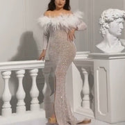 Feather Off-the-shoulder Slit Maxi Evening Dress