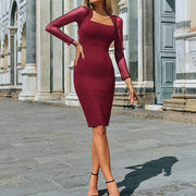 Sexy Fashion Hip Mesh Stitching Long Sleeve Square Neck Dress