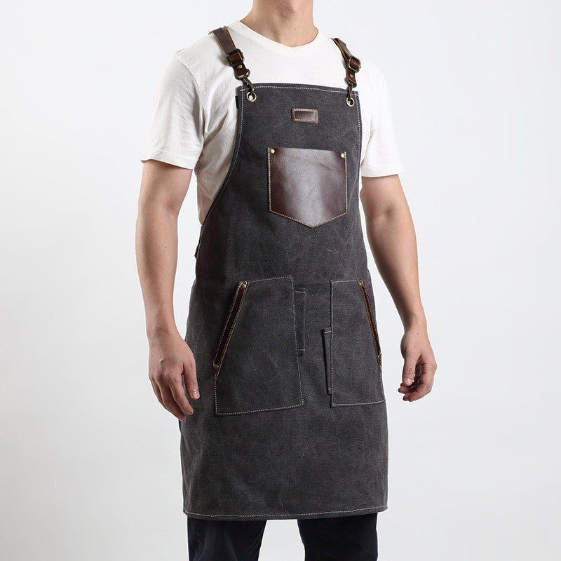 Personalized Canvas Leather Apron Butcher Apron Barista Apron Restaurant Apron