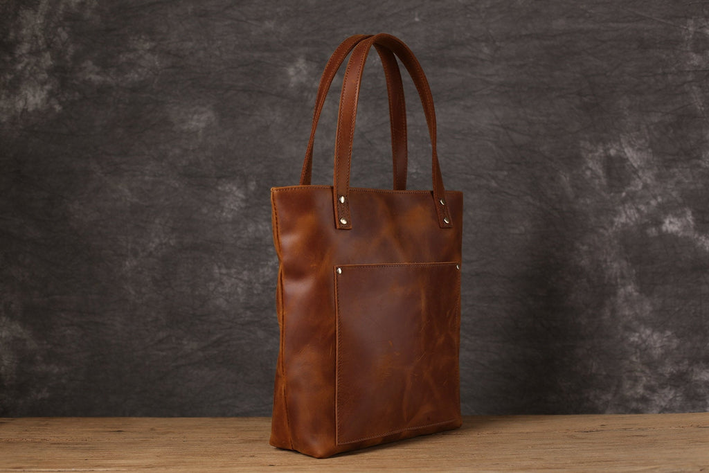 Personalized Leather Tote bag Women Zipper Tote Carry-on Everyday Shopping Bag