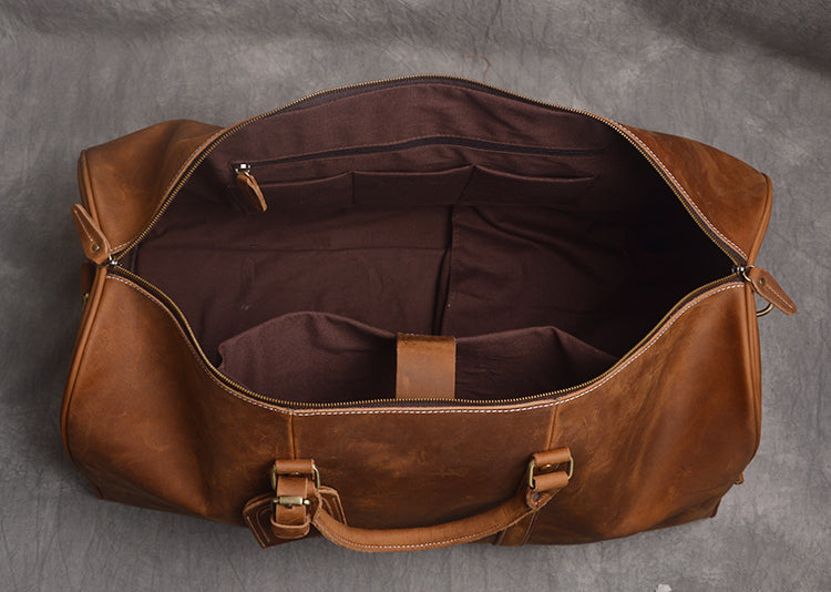 Groomsman Gift Duffle Large Full Grain Leather Duffle Bag with shoe Compartment