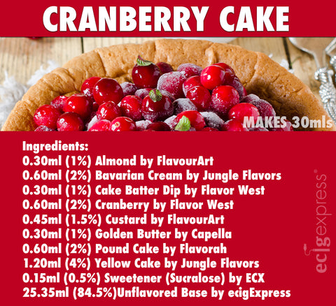 Cranberry Cake E Liquid Recipe