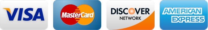 We accept Visa, Master Card, American Express and Discover Card