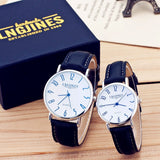 Men Watches Luxury Brand Thin Full Genuine Leather Simple Elegant High-gloss Glass Watch Classic Creative Couple Gift For Lovers