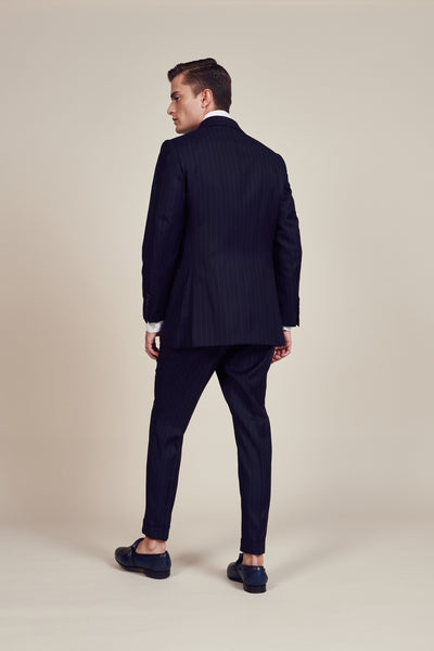 Blue Lined Slim Fit Double Breasted Suit