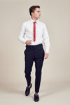 Blue Lined Slim Fit Trousers