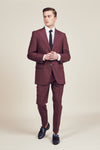 British Check Burgundy Suit