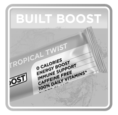 A black and white image of Built Boost Tropical Twist - 0 Calories, Energy  Boost, Immune Support, Caffeine Free, 100 Daily Vitamins