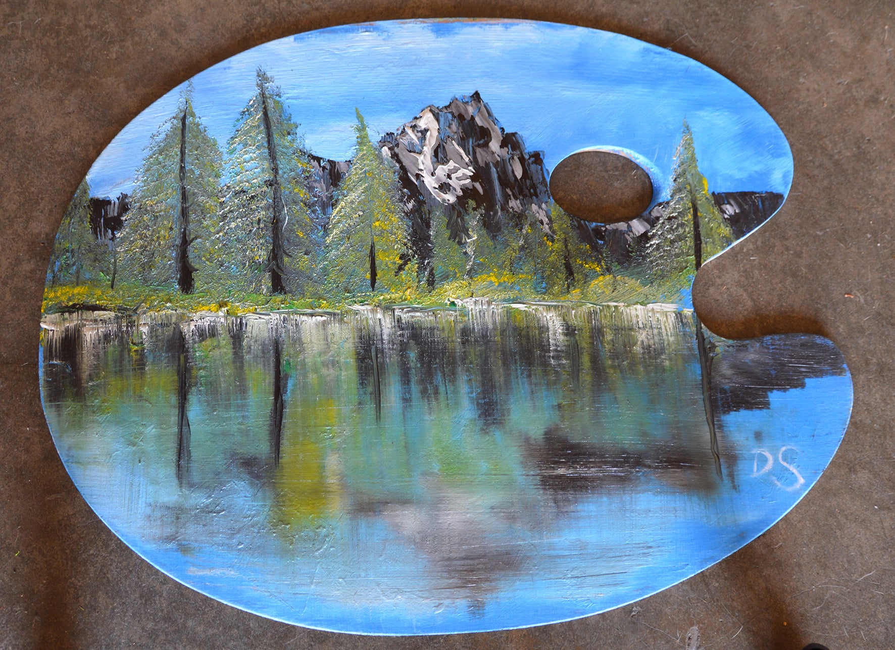 Forest lake palette painting