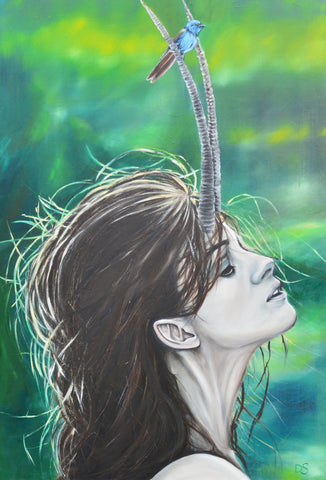Lady of the forest original oil painting 91 x 61cm