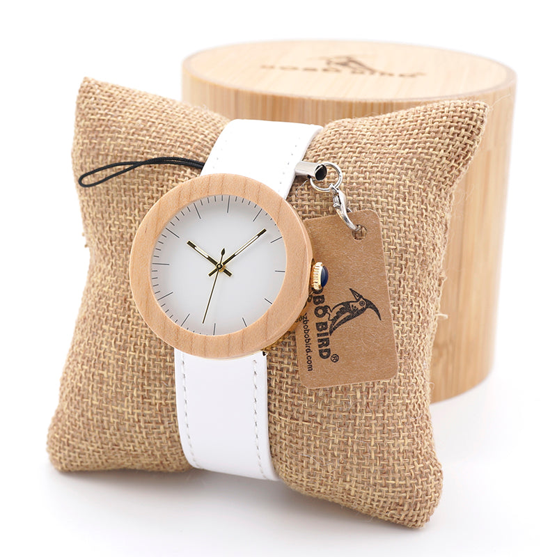 Women's Wooden Quartz Watches with White Leather Band Now 50% OFF ...