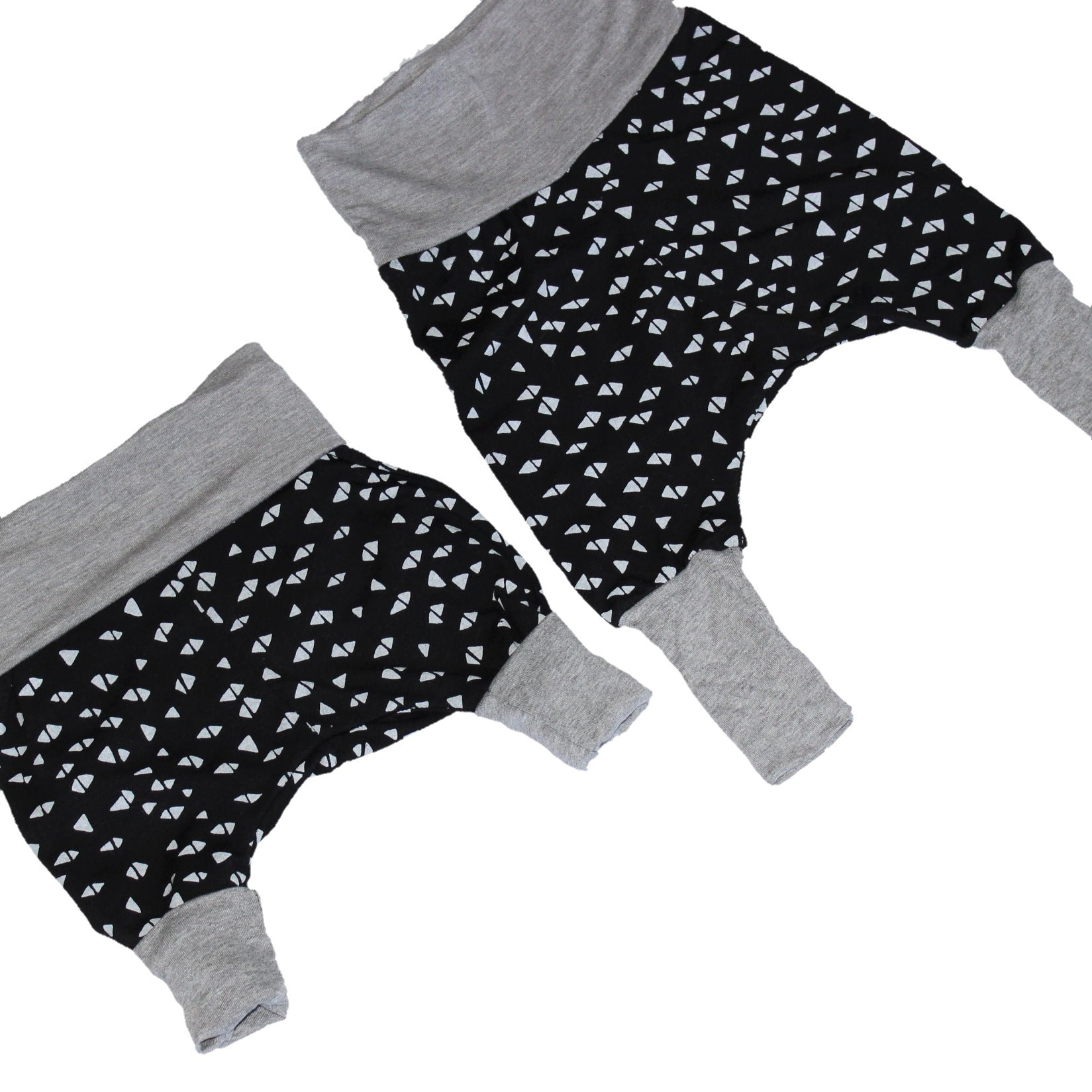 GROW WITH ME Harem Pants - Triangles, Grey and Black