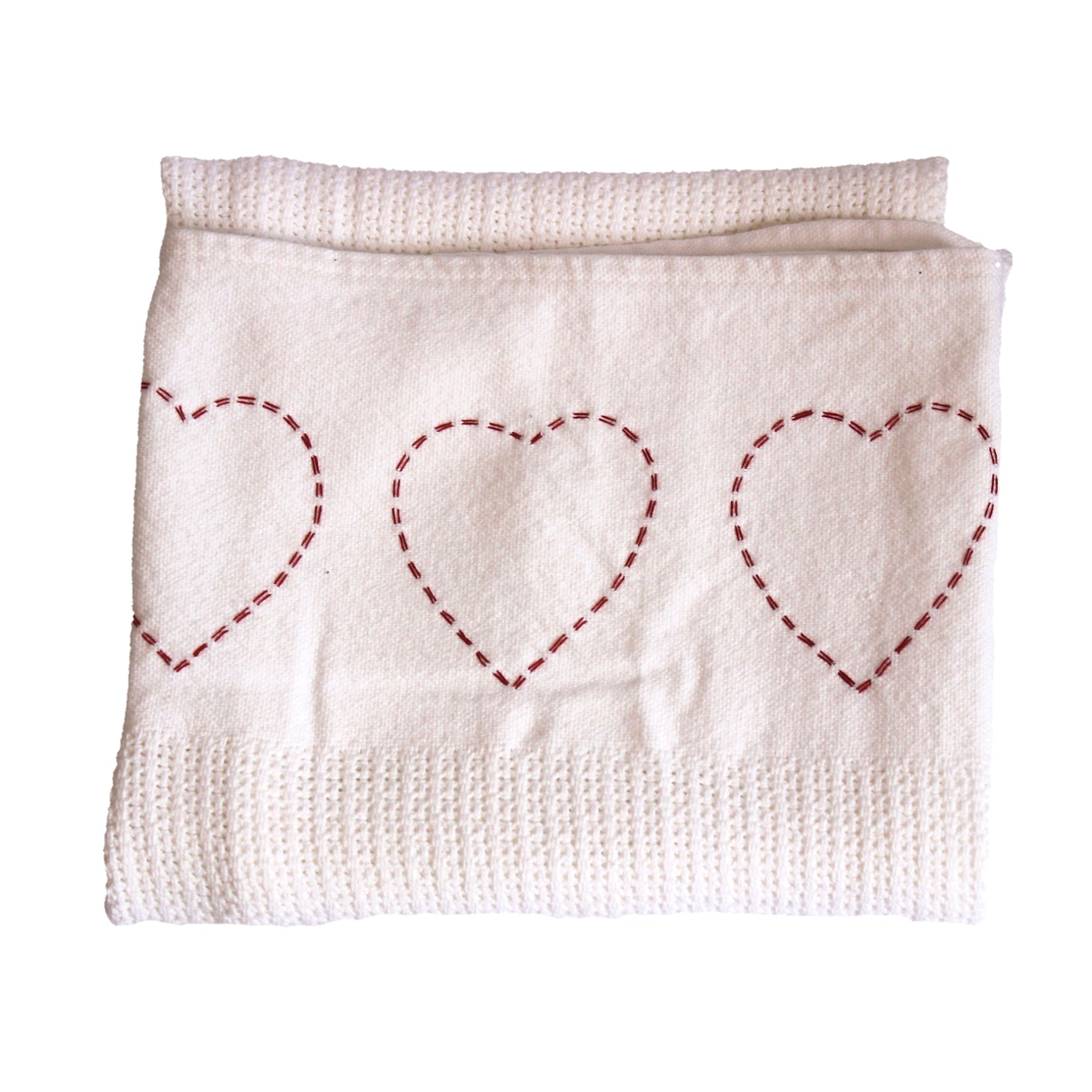100% Cotton Cellular Blanket - Hand Embroidered Red Hearts