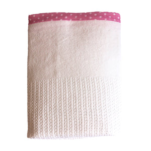 100% Cotton Cellular Blanket - Pink Trim Baby Spots
