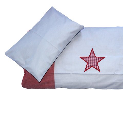 Cot Duvet Set - Gray with Red Gingham Star and Red Chambray