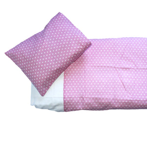 Baby Spots Cot Duvet Set - White on Pink