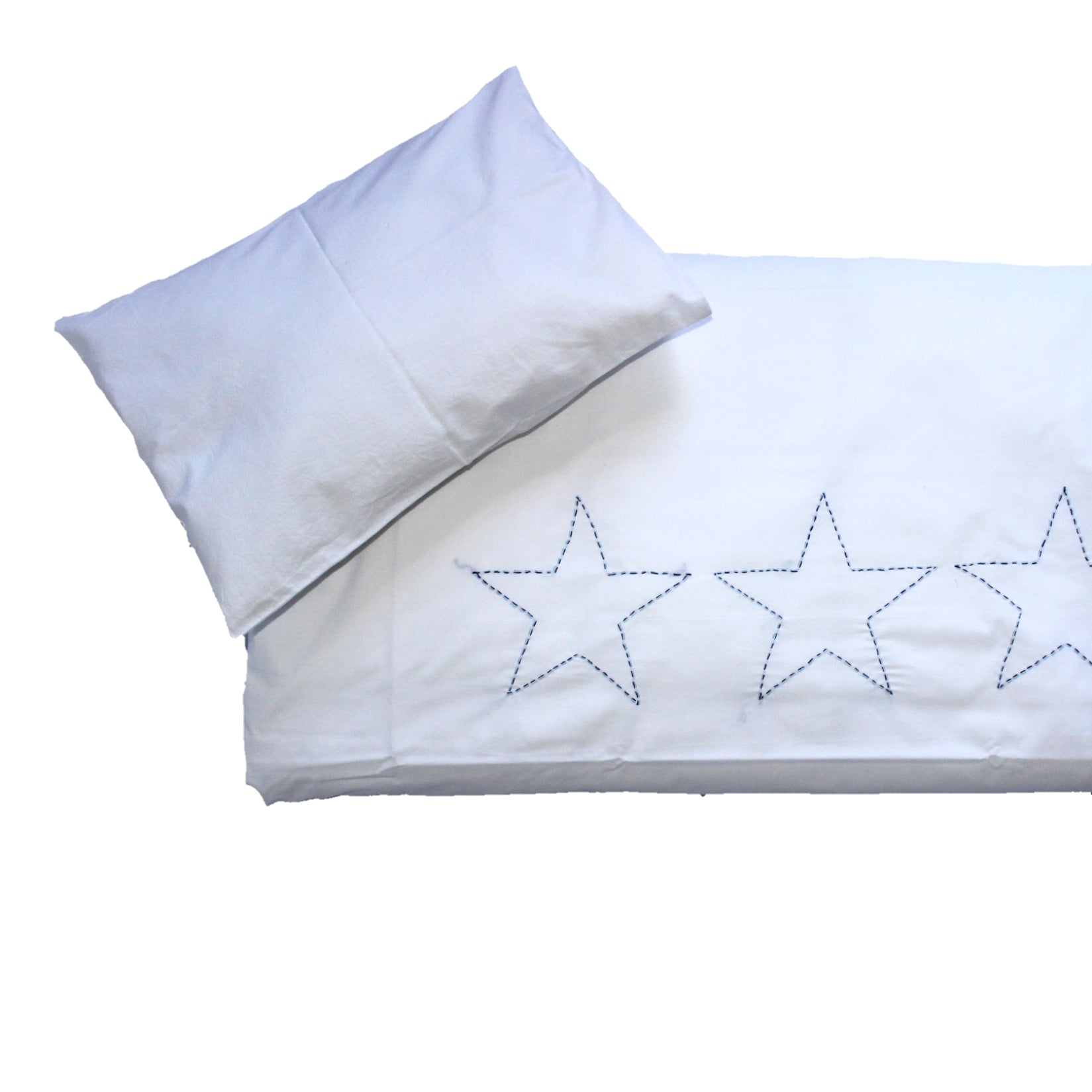 Cot Duvet Set - Hand Embroidered Blue Stars