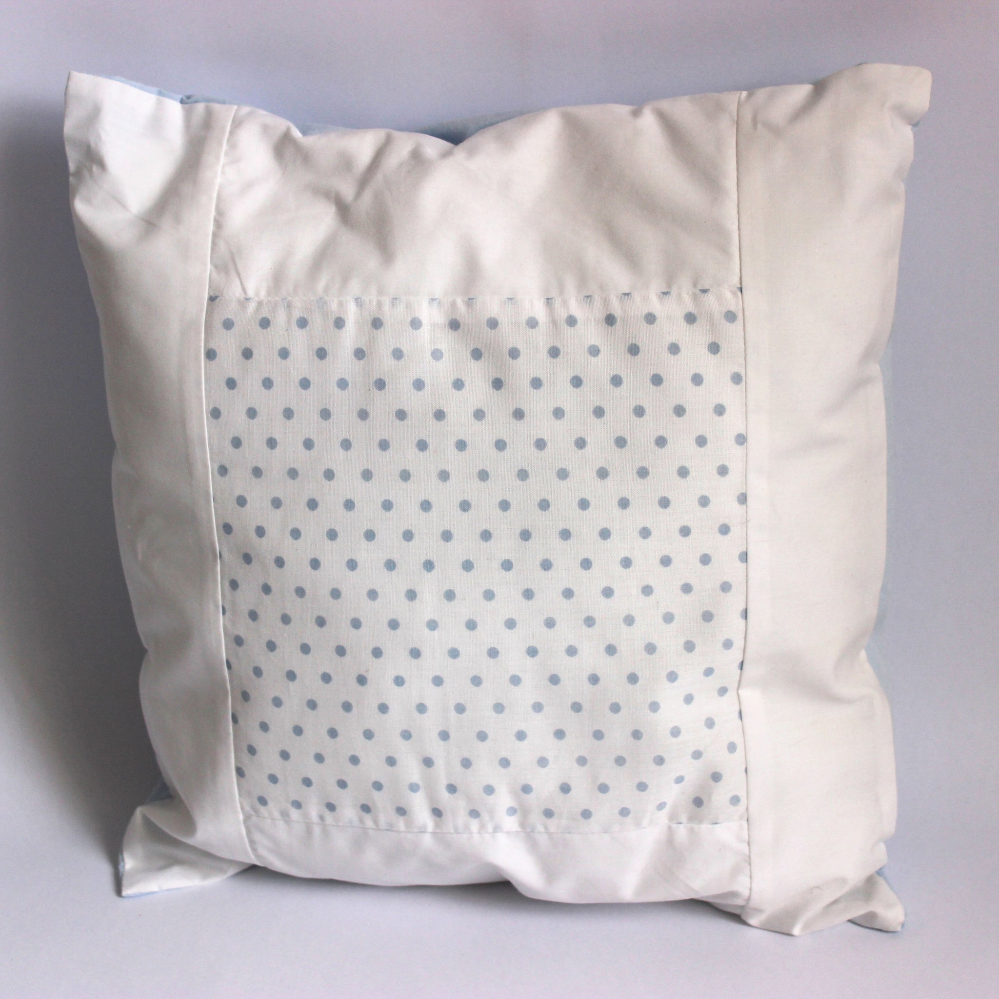 Baby Spots Cushion - Blue on White