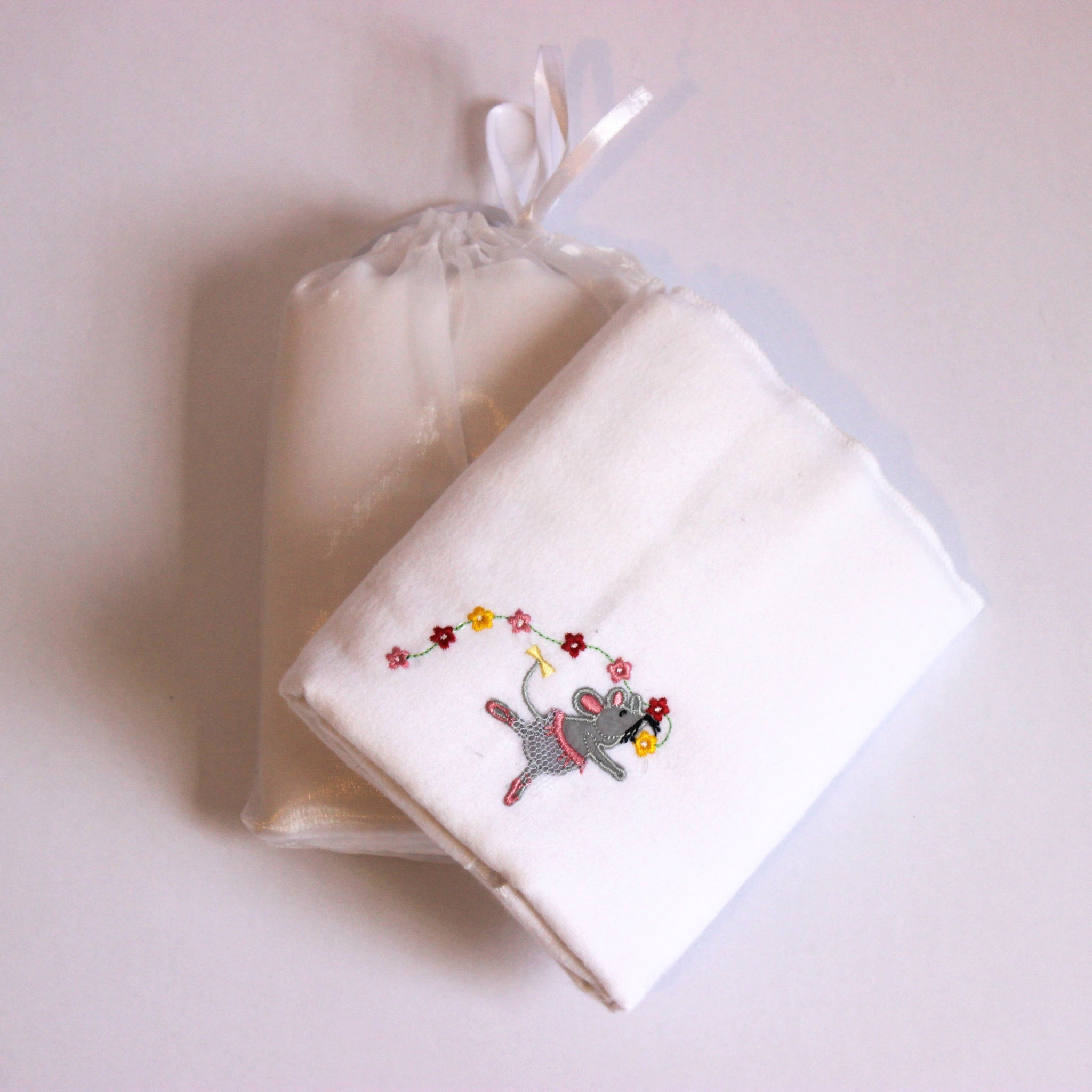 100% Cotton Receiving Blanket - White Ballerina Mice