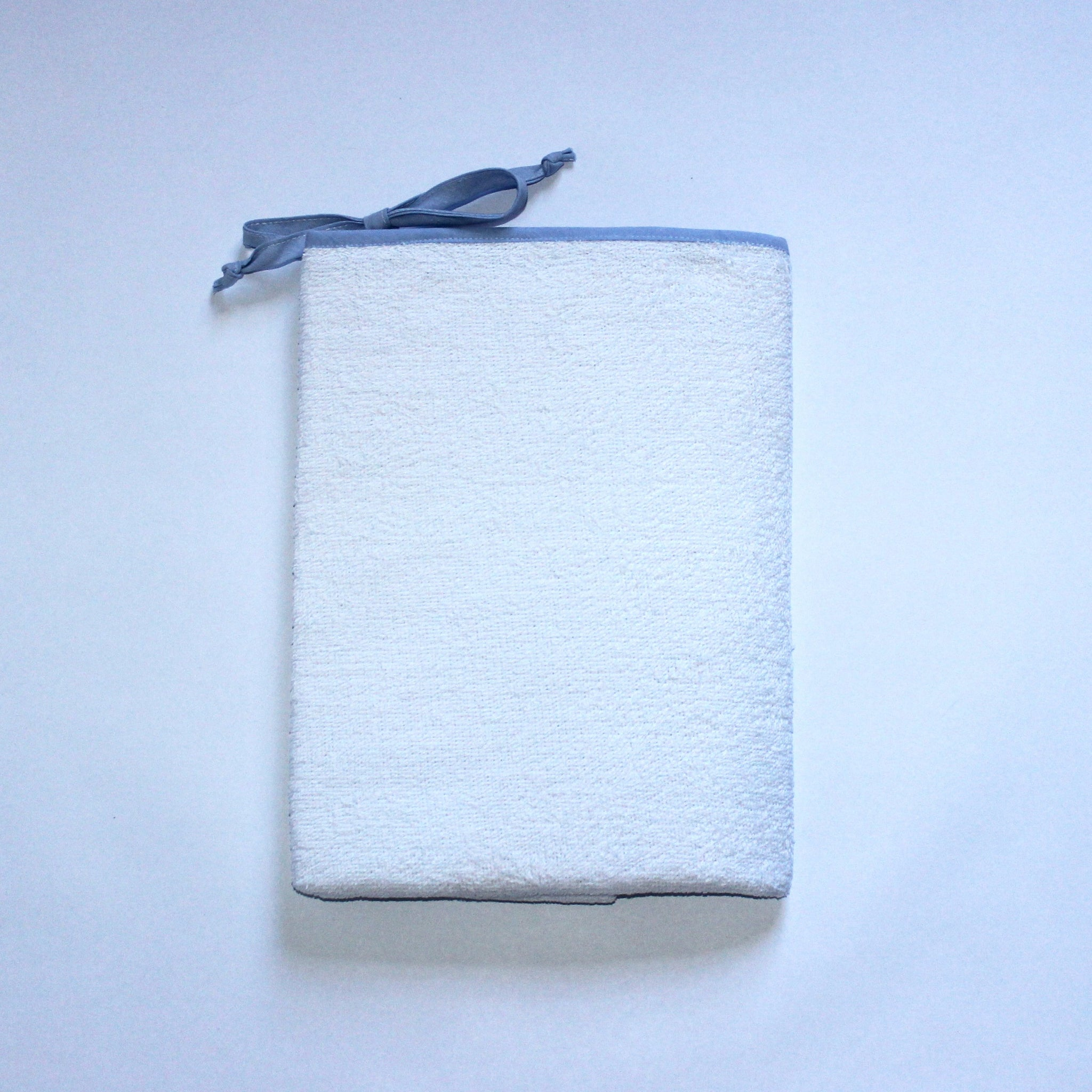 White Toweling Change Mat Cover - Blue Chambray Trim & Ties