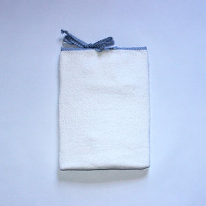 White Toweling Change Mat Cover - Blue Check Trim & Ties