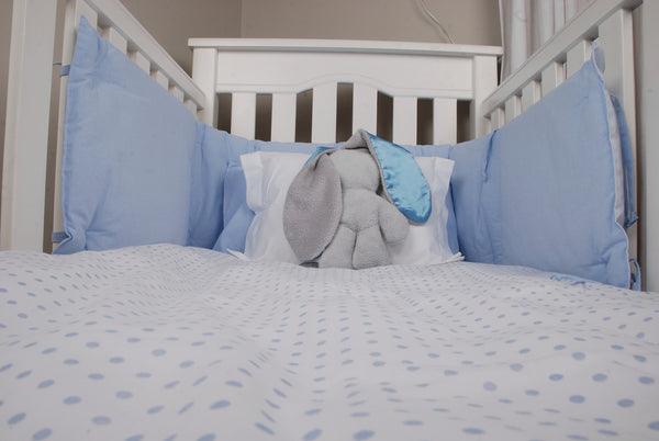Cotton Padded Cot Bumper - Blue & White