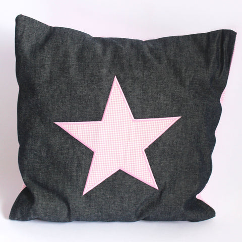 Pink Star on Denim Cushion