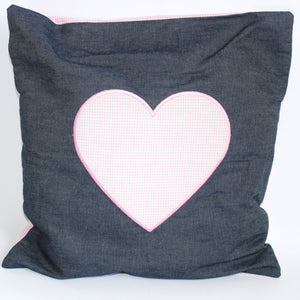 Pink Heart on Denim Cushion