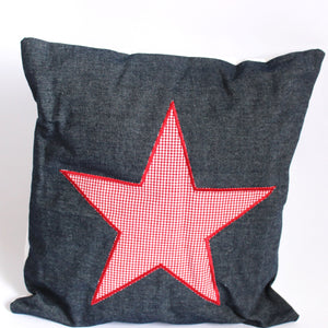Red Check Cushion - Star on Navy (Denim)