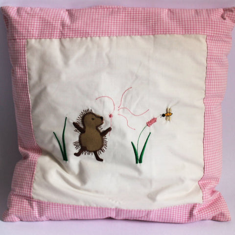 Girl Hedgehog Cushion - Pink