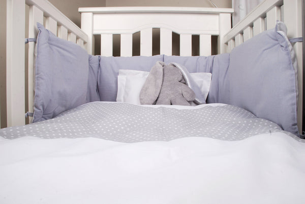 Baby Spots Cot Duvet Set - White on Gray