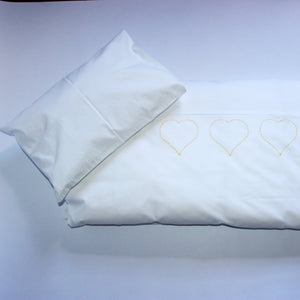 Cot Duvet Set - Hand Embroidered Yellow Hearts