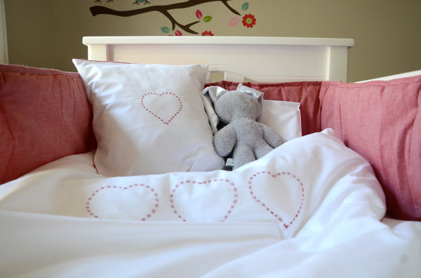 Cot Duvet Set - Hand Embroidered Red Hearts