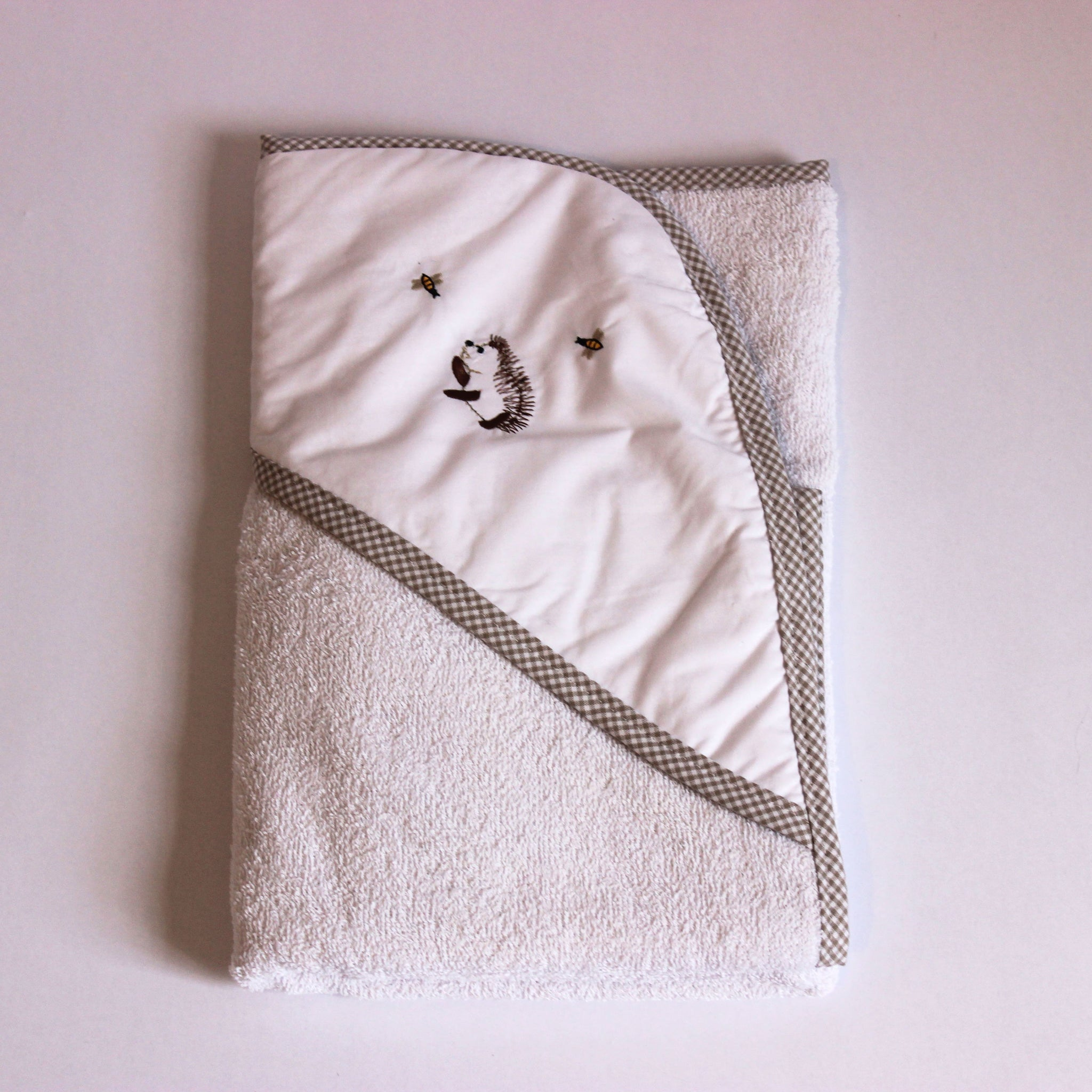 Hooded Towel - Happy Hedgehog with Stone Trim