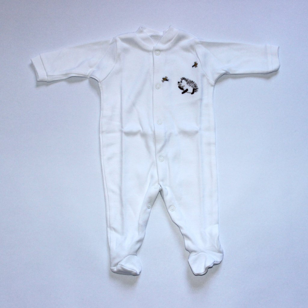 Long Cotton Sleepsuit - Hedgehog & Bees