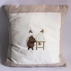 Happy Hedgehog Cushion - Stone Trim