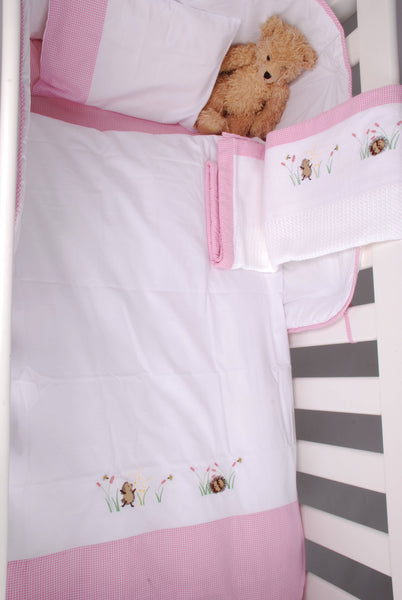 Cot Duvet Set - Hedgehogs in Flower Field, sleeping & blowing dandelion