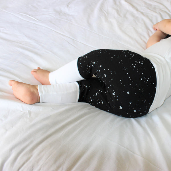 GROW WITH ME Harem Pants - Splatter, White and Black