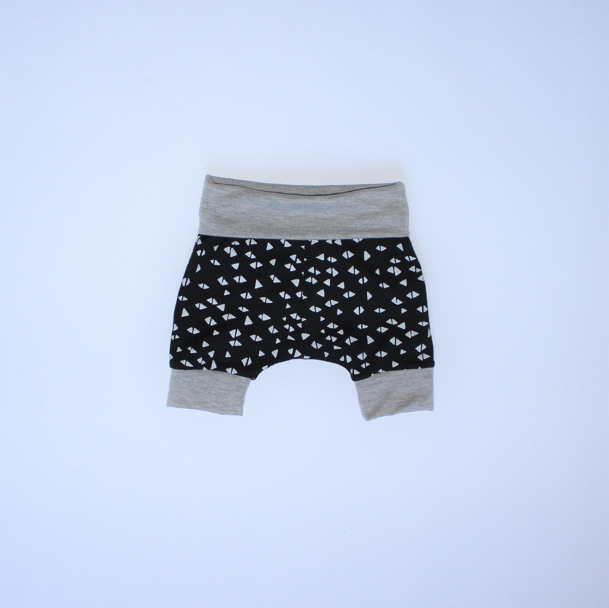 New Born Shorts - Triangles, Grey and Black