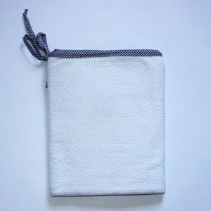 White Toweling Change Mat Cover - Navy Check Trim & Ties