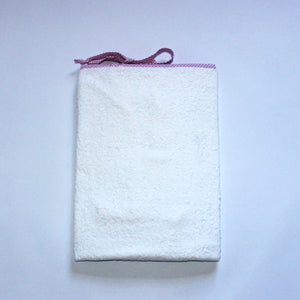 White Toweling Change Mat Cover - Pink Check Trim & Ties