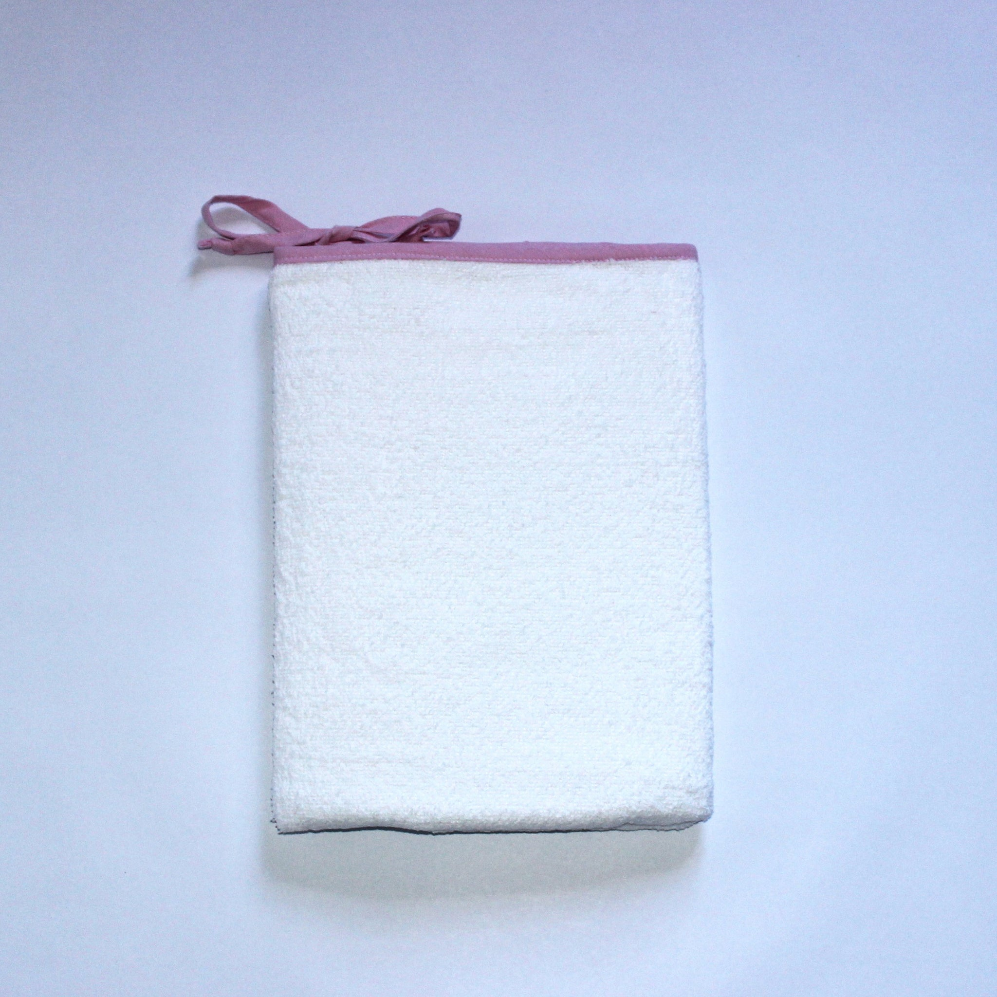 White Toweling Change Mat Cover - Pink Chambray Trim & Ties
