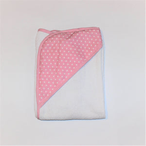 Hooded Towel - Pink Spots & Trim