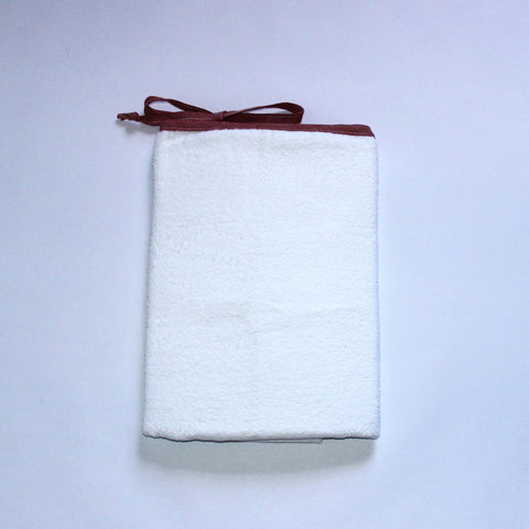 White Toweling Change Mat Cover - Red Chambray Trim & Ties