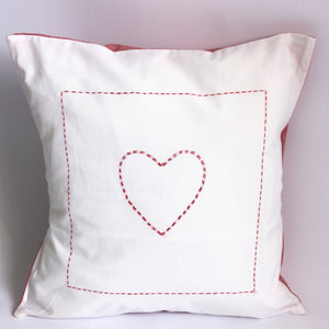 Hand Embroidered Red Heart Cushion